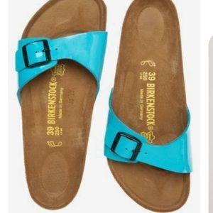 Birkenstock Madrid Birko Flor Blue Patent Sandals.